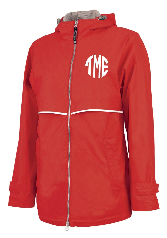 Closeout monogrammed rain jacket red left chest monogram