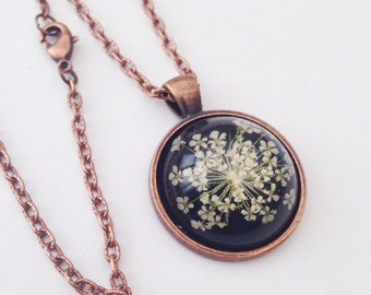 Dried flower necklace - resin jewelry -  copper necklace with real pressed Queen Annes flowers real flower jewelry over black - bridesmaids