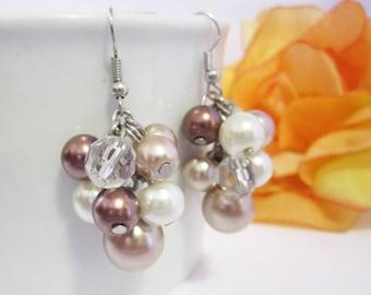 Pearl Earrings Pearl Bridesmaids Earrings Cluster Earrings Wedding Jewelry Bridal Earrings in Ivory, Bronze, Mocha