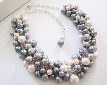 Bridesmaid Pearl Necklace, Bridesmaid Jewelry, Blush Pink, Silver Gray, Cluster Necklace, Bridesmaid Gift, Bridesmaid Necklace, Weddings