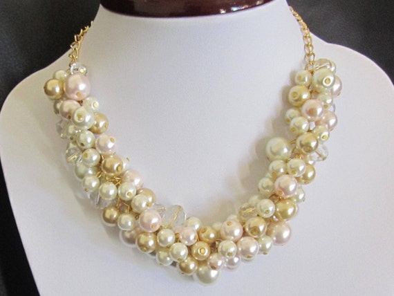Gold Ivory Pearl Necklace, Pearl Cluster Necklace, Beaded Bridesmaid Necklace, Blush Pink and Gold