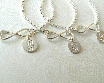 Infinity Sisters Bracelet-Big Sis Mid Sis Lil Sis Bracelets in Sterling Silver Matching Bracelets for Little Sister, Middle Sister, Big Sis