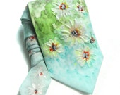 Daisies Hand Painted Tie. Floral Man Handmade Tie. Silk Painting Wearable Art. Grooms Tie. Birthday Gift for Him Green Blue Tie. MADEtoORDER