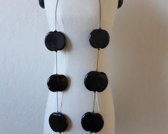 Vintage Mod Black Art Glass Disc Necklace On Chain