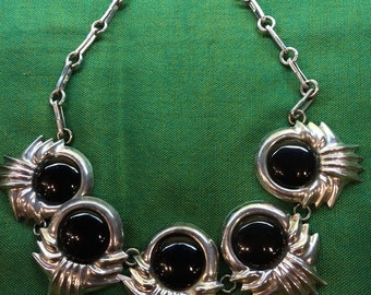 Stunning Vintage Sterling Silver and Onyx Mexican Necklace
