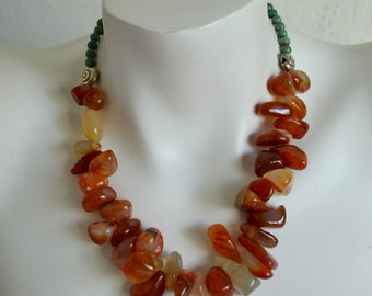 Chunky Carnelian Necklace, Carnelian Nuggets, Green Turquoise, .925 Sterling Silver
