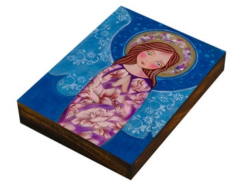 "Joy , Print mounted on Wood (size 3.5 x 4.7"", 8.9 x 12 cm), Mixed Media, Wall Decore by Evona"