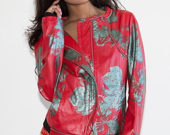 Final REDUCTION was 350 now 150 fabulous vintage 80's/90's EMILIO PUCCI screen printed metallic leather bomber jacket