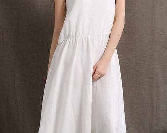 White linen dress women dress maxi dress (C407)