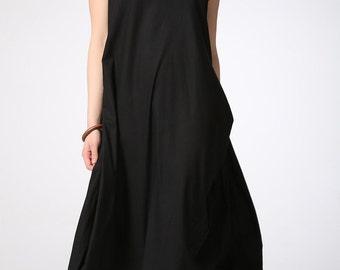 Black midi linen dress women dress (C421)