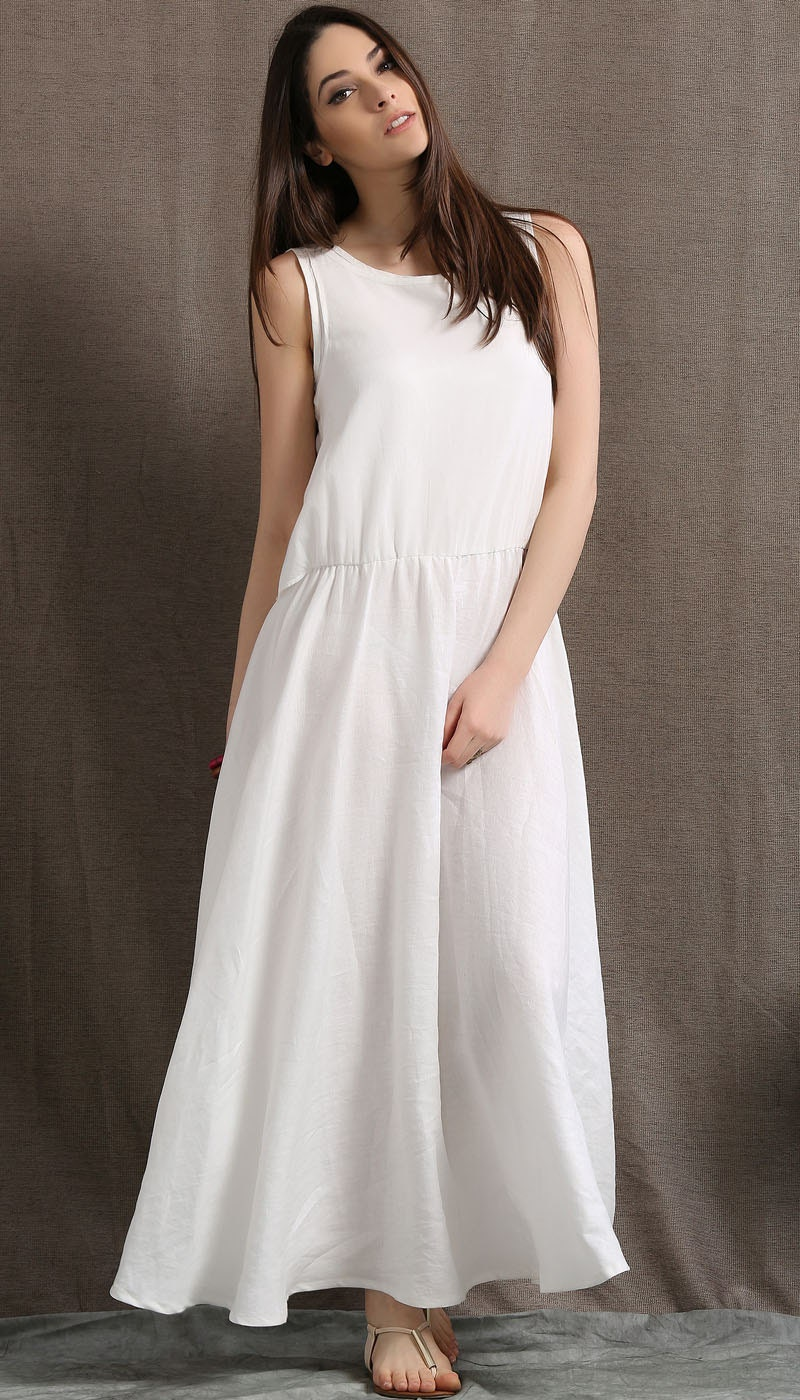 White Linen Dress Women Dress Maxi Dress C407