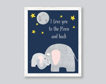 Nursery Art Prints, Baby Boy Nursery Prints, I Love You To the Moon And Back, Navy Grey Nursery, Elephant, Stars, Typography, Kids Wall Art