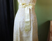 Clearance - 1960s Gold Evening Gown. Yellow Brocade Floral Wiggle Maxi Dress. M Medium. Waist Bow. S M Party Dress.