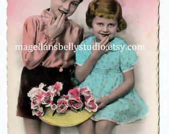 French RPPC Digital Download 1910's Boy and Girl With Flowers Real Photo Post Card Hand Tinted Aqua Blue Pink