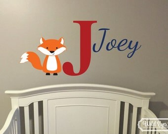 Fox Monogram Personalized Name and Initial Vinyl Decal Nursery forest animals