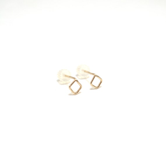 Gold Diamond Stud Earrings - Gold, Rose Gold, Silver Post Earrings