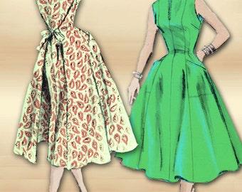 Vogue 8338 1950s Dress Pattern Mid Century Wrap Around Dress or Jumper Unused Factory Folds