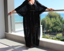 Black Chiffon Dress, Black Maxi Cover-Up, Black Maxi Dress, Oversized Dress, Summer Dress, Cover-Up Dress, Beach Cover Up, Beach Dress