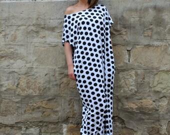 Black and white polka dots dress, maxi dress, caftan dress, long dress, SUMMER DRESS