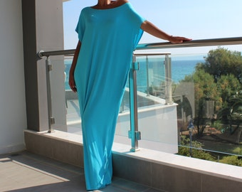 Turquoise caftan dress , maxi dress , kaftan , oversized dress , abaya , summer dress, COVER UP DRESS, beach dress, casual dress