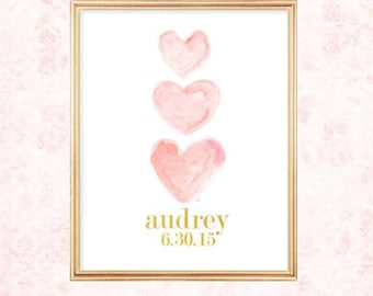 Blush and Gold Nursery Decor, 8x10 Watercolor Heart, Name and Birthday, Blush and Gold Art, Nursery Artwork, Blush Nursery, First Birthday