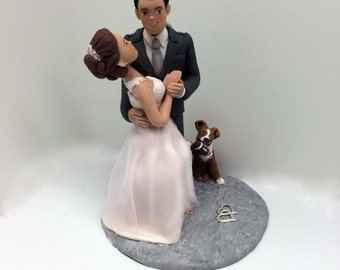 Wedding Cake Topper *Personalized Cake Topper of Bride and Groom with Pets, Cake Topper from your Ideas and photos