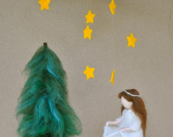 Waldorf inspired needle felted doll mobile: The Star Money Fairy Tale