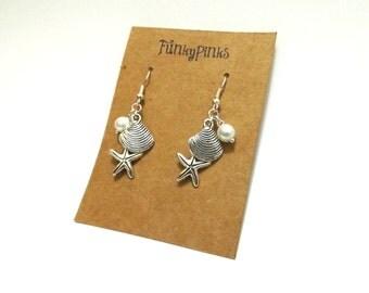 Shell Earrings, Beach Earrings, Starfish Earrings, Sea Earrings, Ocean Earrings, Sea Shell Charm Earrings, Mermaid Earrings