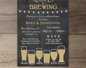 Love is Brewing • Wedding Shower •Engagement Party • Chalkboard Brewery Invitation •market lights • printable Invitation