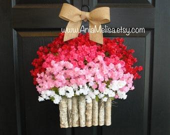 spring wreaths Valentine's Day wreaths front door wreaths decor birch bark vases welcome wreaths Mother's Day gifts wreath