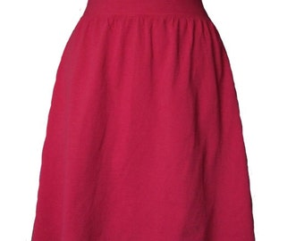 Crimson Red Cotton Jersey Knit Skirt with a Rolled Waistband