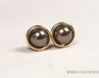 Gold Brown Pearl Earrings Chocolate Brown Pearl Stud Earrings Gold Stud Earrings Gold Pearl Earrings Gold Jewelry Bridal Pearl Earrings