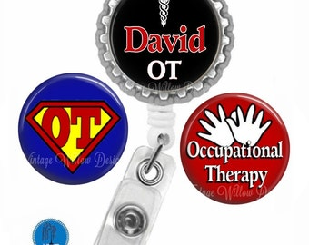 Personalized Occupational Therapy (OT2) Retractable ID Badge Reel with (3) Charm Magnets