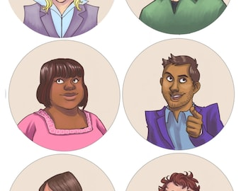 "Parks and Recreation 2 1/4"" buttons"