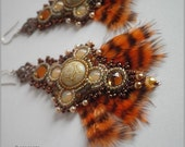 Ladyhawke - Fantasy medieval style brown ivory orange long earrings with vintage glass, crystals and feathers, bead embroidered