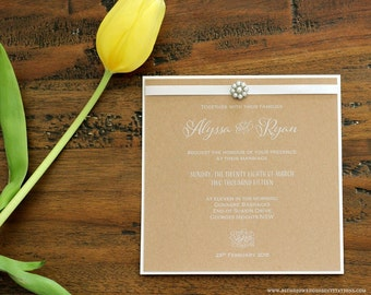Rustic white ink wedding invitation- perfect for a rustic/ barnyard/ farm/ country themed wedding