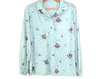 Vintage Floral Print Shirt Boho Shirt 70s Hippie Top Festival Shirt Polyester Blouse