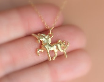 Gold Unicorn Necklace Women Girls Jewelry Gift Mystical Magical Unicorns Little Girls Young Sterling Silver