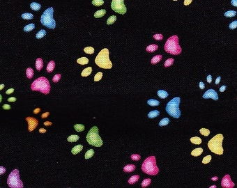 Colorful Kitty Cat or Dog Paws Fabric on Black Background FQ