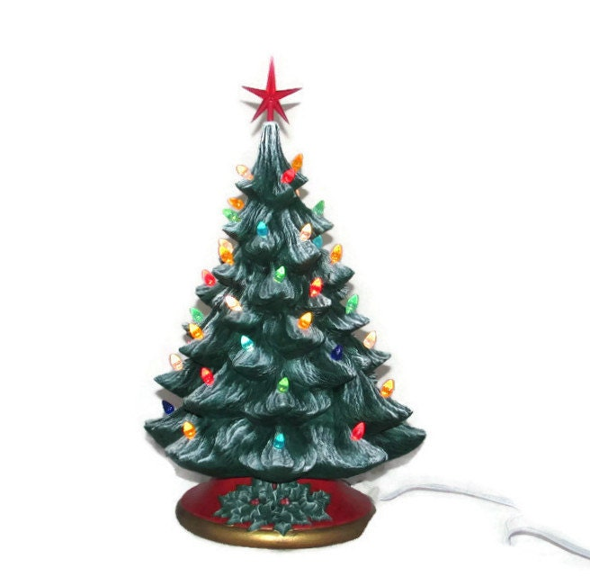 Large Christmas Tree: Large Ceramic Christmas Tree 16 Inches With Base-hand Made