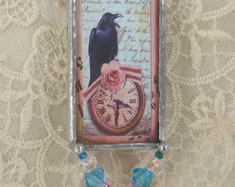 Soldered glass pendant, Soldered art pendant, Steampunk jewelry, Black Crow Two