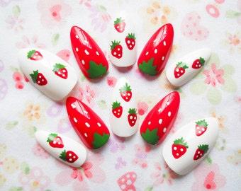 24 Strawberry Stiletto Nails / Fake Nails / False Nails / Press on / Kawaii / Cute / Summer / Nails