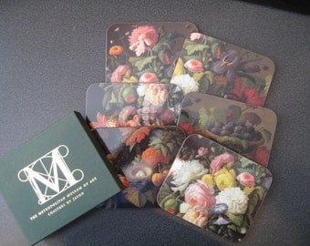 Vintage Metropolitan Museum of Art Coasters By Jason - Still Life Flowers and Fruit, Set of Six-In Original Box