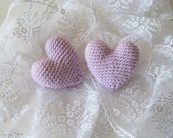 Amigurumi Crochet Vervain Heart (Set of 2) - Cake topper - Wedding table decor - Birthday party decoration