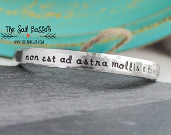 Inspirational Message Hand Stamped Cuff | Latin Jewelry | Graduation Gift | Secret Message Cuff | Inspirational Quote Jewelry | Strength