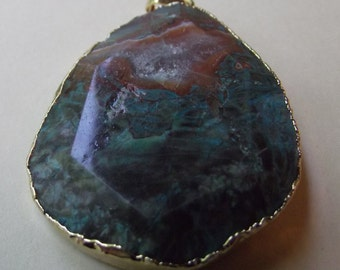 Natural Ocean Jasper Stone Pendant ~ Trimmed in 18KT Gold Plate ~ Blue Green and Brown Rock Sea Bottom with White Inclusions
