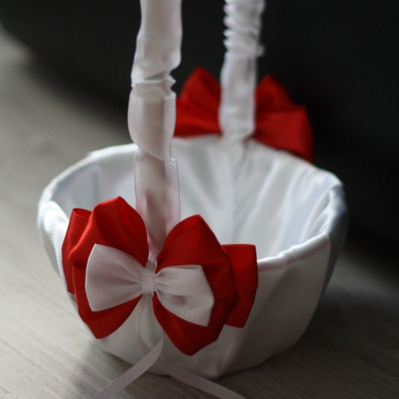 Red and white flower girl baskets olivero white and red wedding ceremony flower girl basket by mightylinksfo
