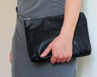 Black Leather Clutch - Fully Lined With Pink Taffeta