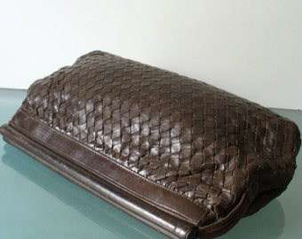 Vintage Made in Italy Woven Leather Clutch