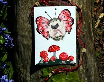 Cute Hedgehog butterfly Greeting Card - Birthday Card - Love Card - Kawaii Greeting Card